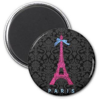 Torre Eiffel de las rosas fuertes en falso brillo Imán Redondo 5 Cm