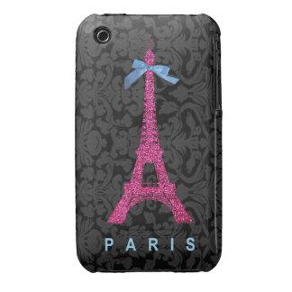 Torre Eiffel de las rosas fuertes en falso brillo iPhone 3 Case-Mate Carcasa