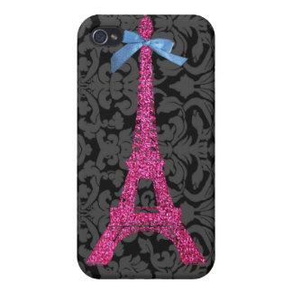 Torre Eiffel de las rosas fuertes en falso brillo iPhone 4 Fundas