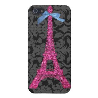 Torre Eiffel de las rosas fuertes en falso brillo iPhone 5 Fundas