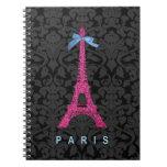 Torre Eiffel de las rosas fuertes en falso brillo Cuaderno