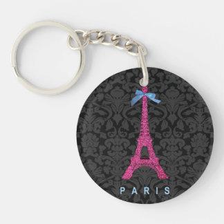 Torre Eiffel de las rosas fuertes en falso brillo Llavero Redondo Acrílico A Doble Cara