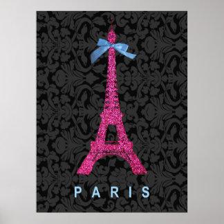 Torre Eiffel de las rosas fuertes en falso brillo Poster