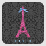 Torre Eiffel de las rosas fuertes en falso brillo Pegatinas Cuadradases