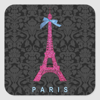 Torre Eiffel de las rosas fuertes en falso brillo Pegatina Cuadrada