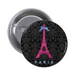 Torre Eiffel de las rosas fuertes en falso brillo Pins