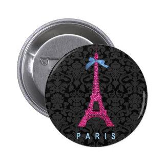 Torre Eiffel de las rosas fuertes en falso brillo Pin Redondo De 2 Pulgadas