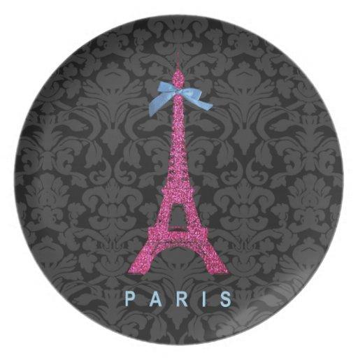 Torre Eiffel de las rosas fuertes en falso brillo Plato De Cena