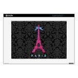 Torre Eiffel de las rosas fuertes en falso brillo Portátil 38,1cm Skin