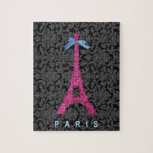 Torre Eiffel de las rosas fuertes en falso brillo Rompecabezas Con Fotos