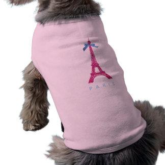 Torre Eiffel de las rosas fuertes en falso brillo Ropa Perro