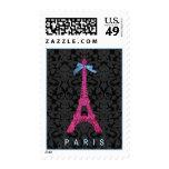 Torre Eiffel de las rosas fuertes en falso brillo Sello