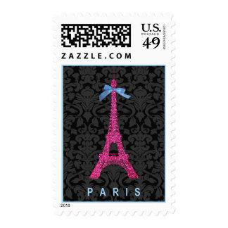 Torre Eiffel de las rosas fuertes en falso brillo Sello Postal