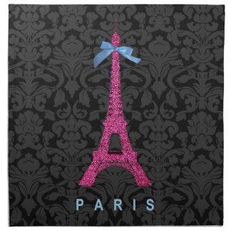 Torre Eiffel de las rosas fuertes en falso brillo Servilletas Imprimidas