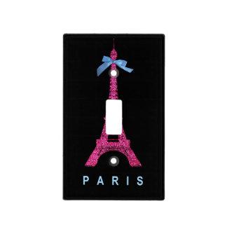 Torre Eiffel de las rosas fuertes en falso brillo Tapa Para Interruptor