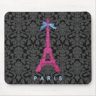 Torre Eiffel de las rosas fuertes en falso brillo Tapete De Ratones