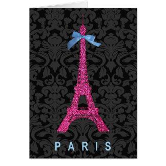 Torre Eiffel de las rosas fuertes en falso brillo Tarjeta De Felicitación