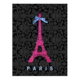 Torre Eiffel de las rosas fuertes en falso brillo Tarjeta Postal