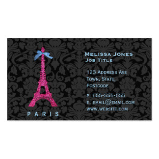 Torre Eiffel de las rosas fuertes en falso brillo Tarjetas De Visita