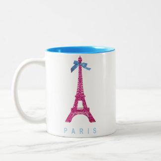 Torre Eiffel de las rosas fuertes en falso brillo Taza De Dos Tonos