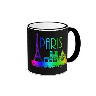 Torre Eiffel de los monumentos del arco iris de Taza De Dos Colores