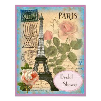 """Torre Eiffel de los pares y ducha nupcial de los Invitación 4.25"""" X 5.5"""""""