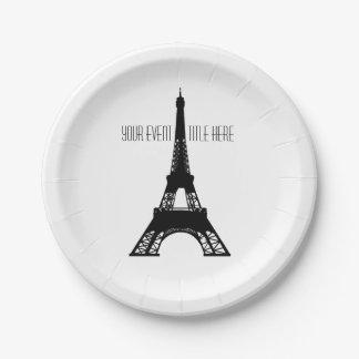 Torre Eiffel de París blanco y negro Plato De Papel De 7 Pulgadas