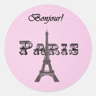 Torre Eiffel de París Bonjour del vintage Pegatina Redonda