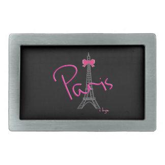 Torre Eiffel de París con el arco rosado Hebilla Cinturon Rectangular
