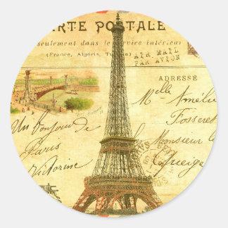 Torre Eiffel de París de la postal del viaje del Pegatina Redonda