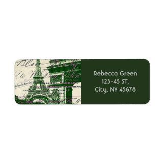 torre Eiffel de París de la puerta de la victoria Etiqueta De Remitente
