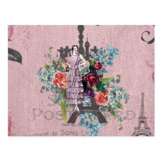Torre Eiffel de París de los rosas rojos de Corlof Postales