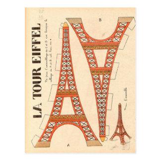 Torre Eiffel de París del vintage cortada Postales