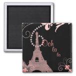 torre Eiffel de París del vintage del rosa del la  Imán De Frigorifico