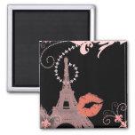 torre Eiffel de París del vintage del rosa del la  Imán