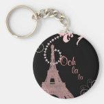 torre Eiffel de París del vintage del rosa del la  Llavero