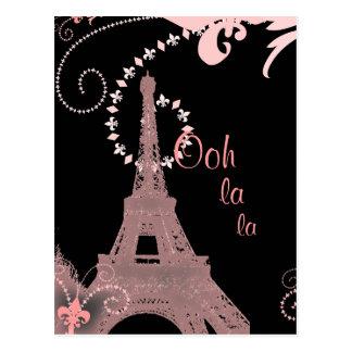 torre Eiffel de París del vintage del rosa del la Postal