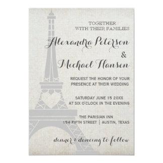 """Torre Eiffel de París del vintage en el boda gris Invitación 5"""" X 7"""""""