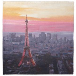 Torre Eiffel de París en la oscuridad Servilletas Imprimidas