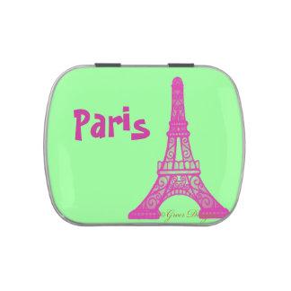 Torre Eiffel de París en rosa Latas De Caramelos
