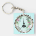 Torre Eiffel de París y rosas rosados Llavero