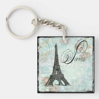 Torre Eiffel de París y rosas rosados Llavero Cuadrado Acrílico A Una Cara