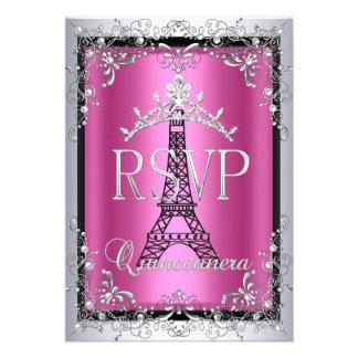 Torre Eiffel de plata rosada de la tiara de RSVP Q Anuncio Personalizado