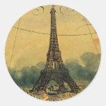 Torre Eiffel de Steampunk y globo del aire calient Pegatina Redonda