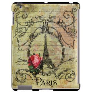 Torre Eiffel de Steampunk y rosa rojo Funda Para iPad