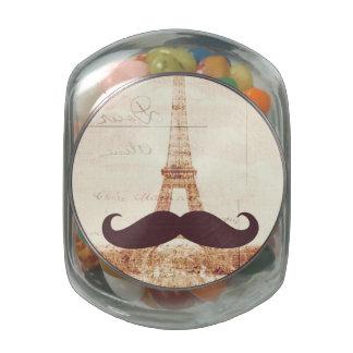 Torre Eiffel del bigote Jarras De Cristal