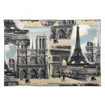 Torre Eiffel del collage del viaje de París del fr Manteles Individuales