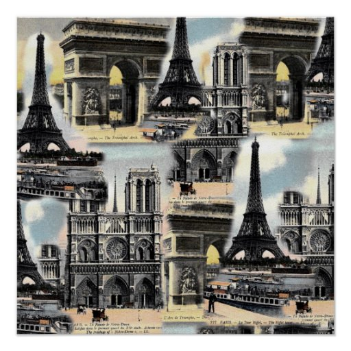 Torre Eiffel del collage del viaje de París del fr Impresiones