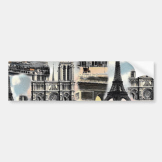 Torre Eiffel del collage del viaje de París del fr Pegatina Para Auto