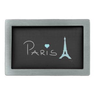Torre Eiffel del corazón de París Hebillas De Cinturon Rectangulares